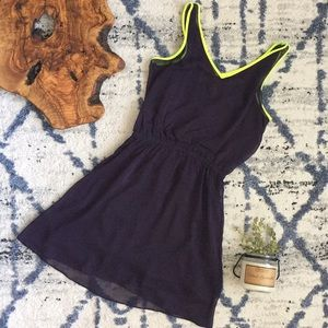 Express Plum Mini Dress with Neon Accent